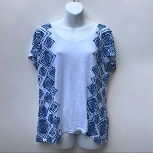 Lucky Brand Ladies Blue and White Shirt Size XL
